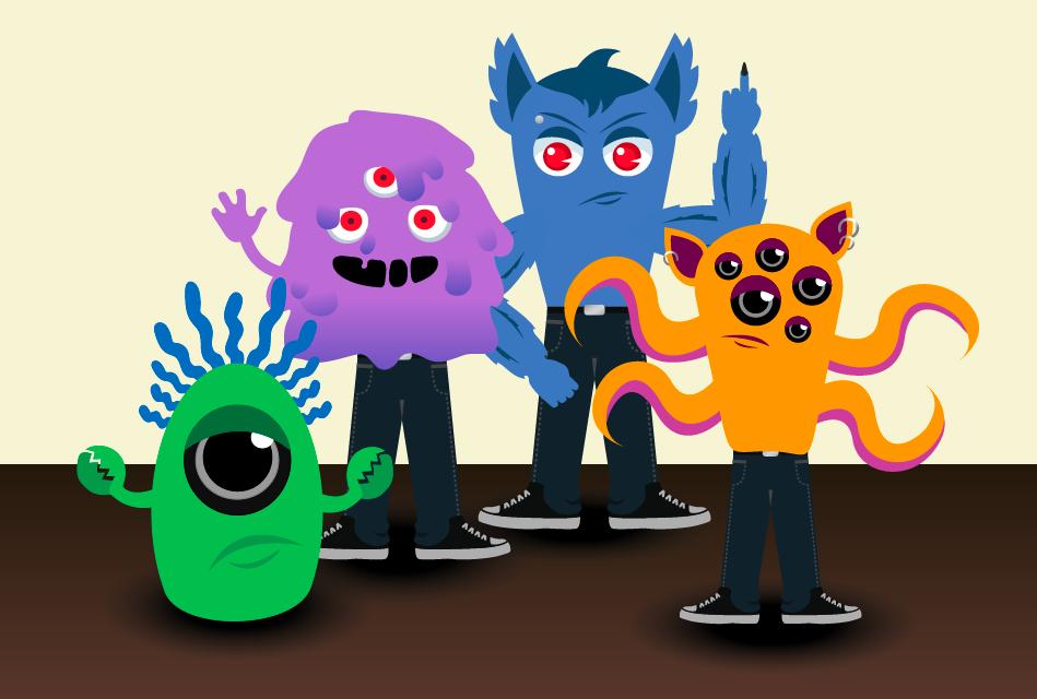 four teenage monsters